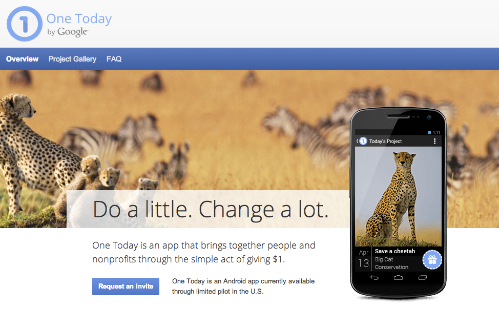 One Today by Google- A Giving Mobile App