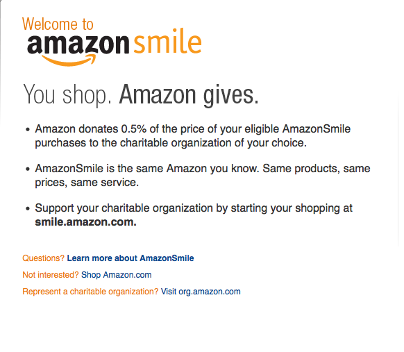 AmazonSmile: A percentage of your purchase goes to donation
